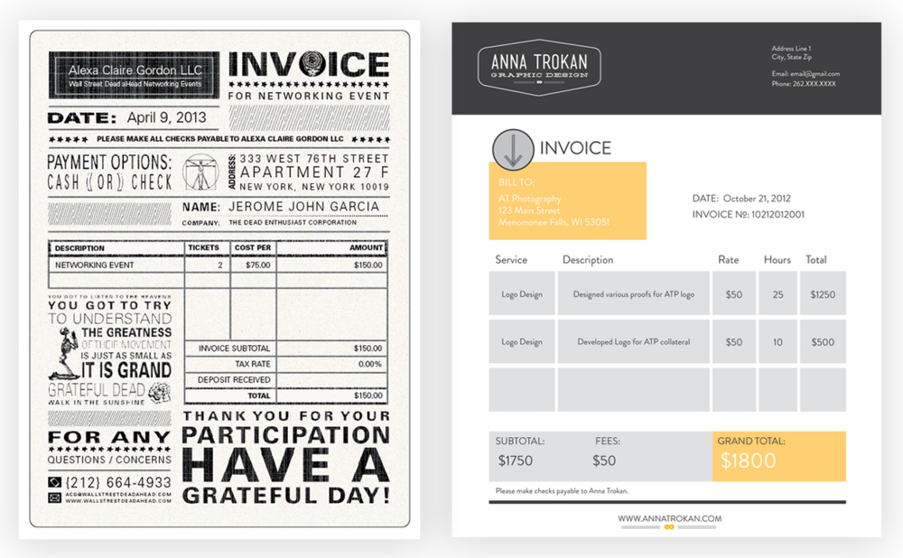 how to design a killer invoice that reflects your style type love