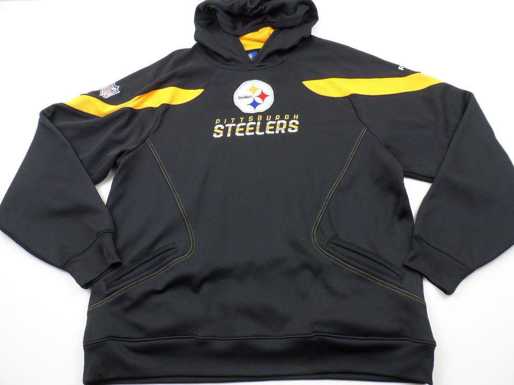 buy online 21614 25c1c Reebok On Field Pittsburgh Steelers Hoodie Mens XL Black ...