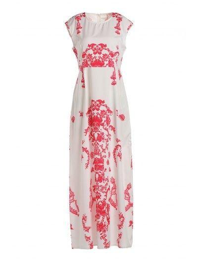 443457c0341d Zaful - Zaful Round Neck Short Sleeve Floral Print Floor Length White Dress  - AdoreWe. Maxi Dresses OnlineWhite ...