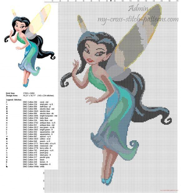 El Hada Silvermist de Disney Fairies patron punto de cruz mantas ...