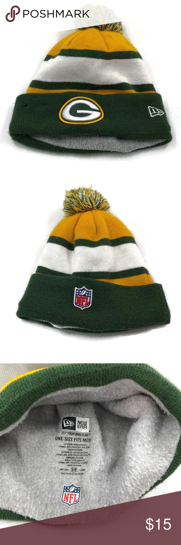 Green Bay Packers Winter Hat Pom Pom Nfl Beanie In 2020 Winter Hats Pom Pom Hat Beanie