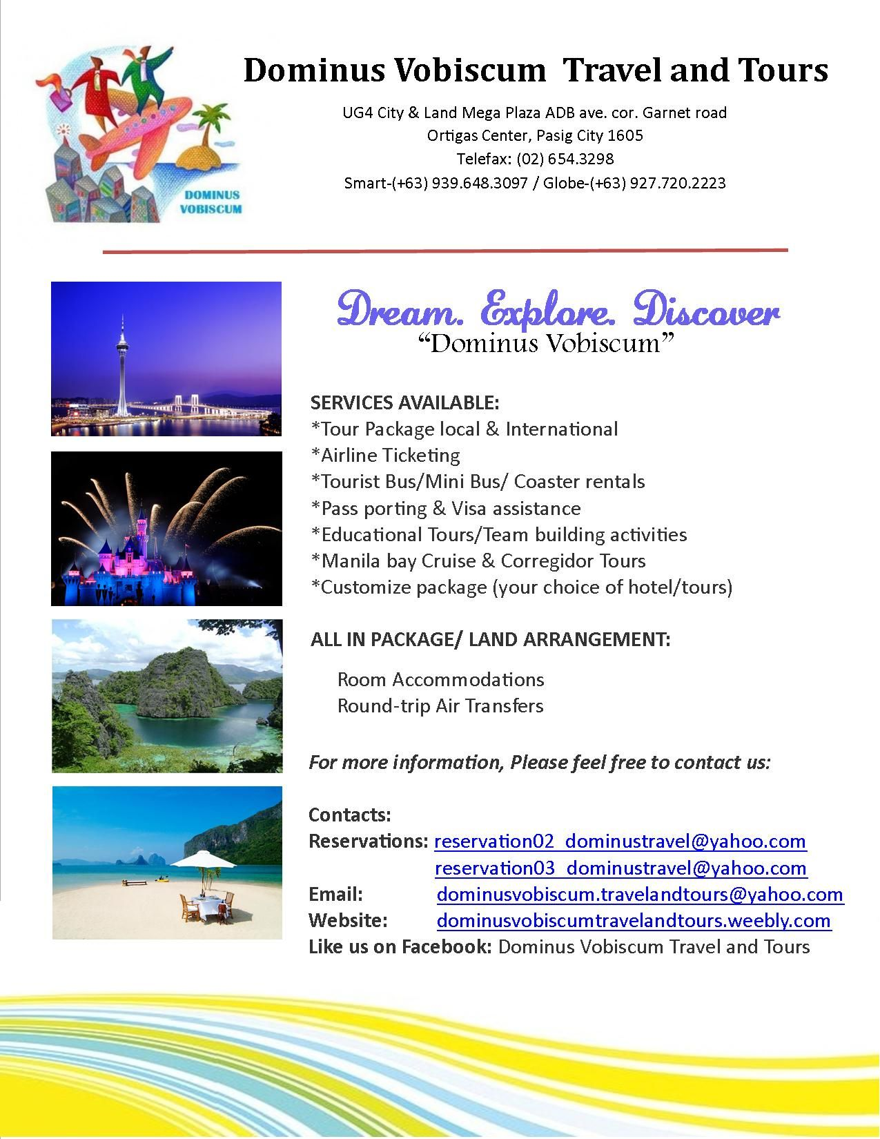 Dominus Vobiscum Travel and Tours Co  Services Offer