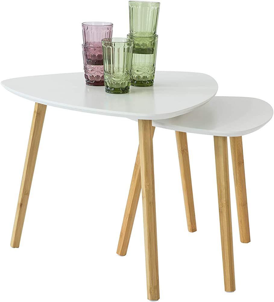 Sobuy Fbt74 W 2er Set Beistelltisch Mit Ablagen Couchtisch Sofatisch Kaffeetisch Satztisch Bambus Weiss Natur Geschenksachen Kaffeetisch Sofa Tisch Satztische