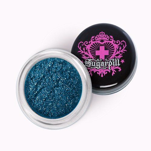 Sugarpill Cosmetics Loose Eyeshadow, Magpie. Loose eyeshadows are packed by weight. A dramatic silky black with metallic blue sheen. Gives your eyes a seductive smoky twist.
