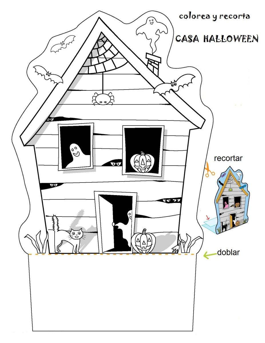Actividades Halloween Colorea y recorta la casa de miedo | halloween ...