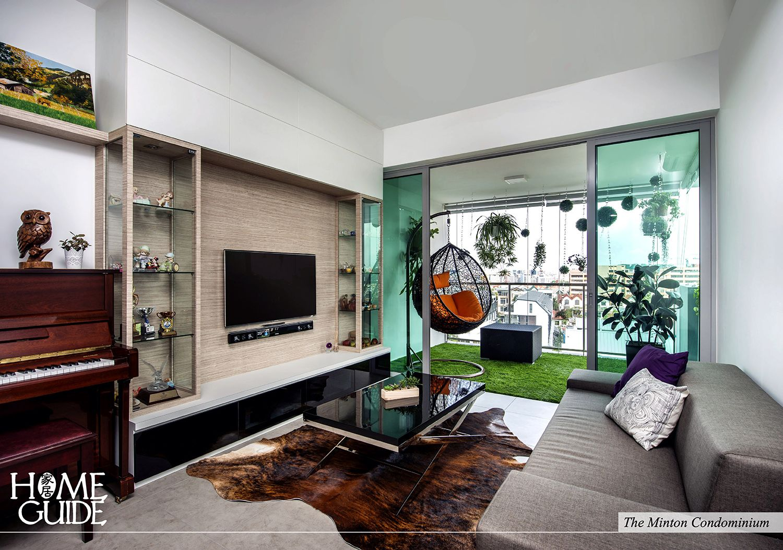Modern interior design concept with animal printed rug & a cozy balcony.
