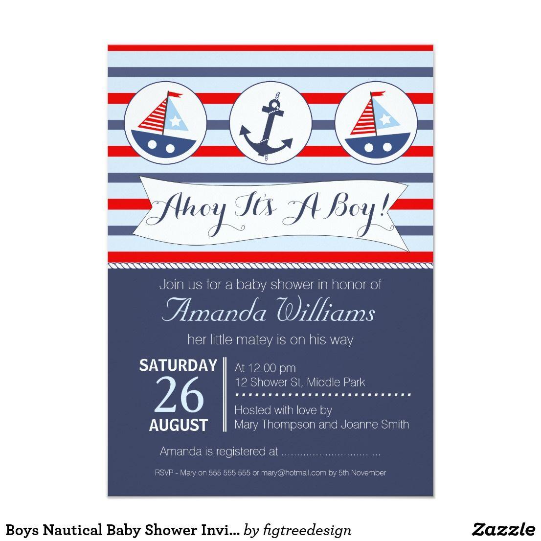 Boys Nautical Baby Shower Invitation | Shower invitations
