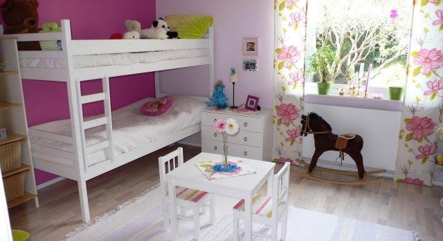 wandfarben ideen kinderzimmer fuchsia akzentwand etagenbett weiße - wandfarben kinderzimmer