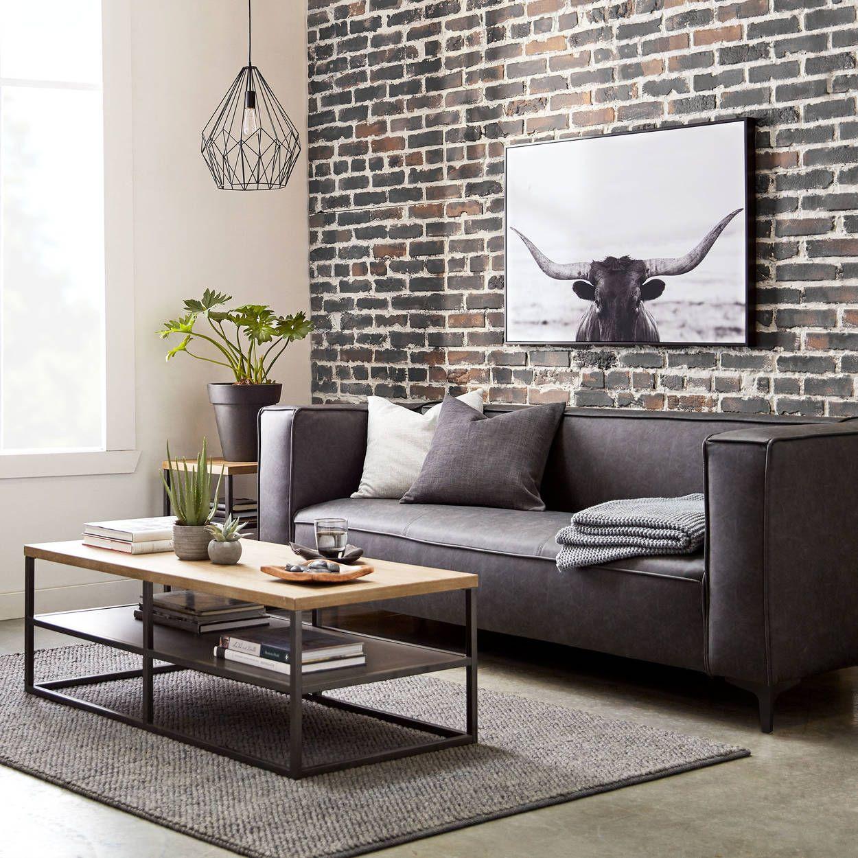farmhouse faux leather sofa