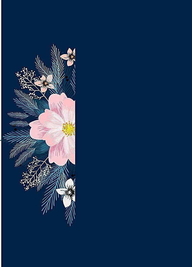 Watercolor Flower Floral Blue Background