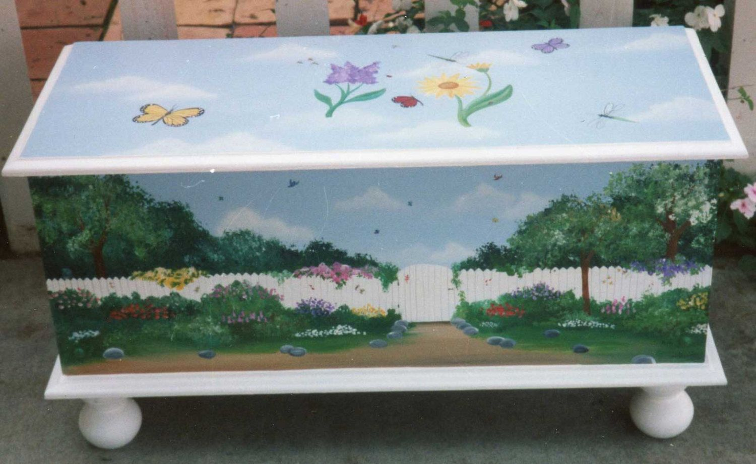 Hand painted garden toy chest storage chest in hand painted