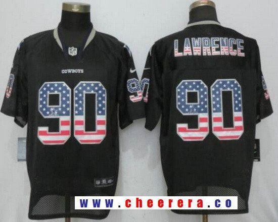 da96238a92e Men's Dallas Cowboys #90 Demarcus Lawrence Black USA Flag Fashion Stitched  NFL Nike Elite Jersey