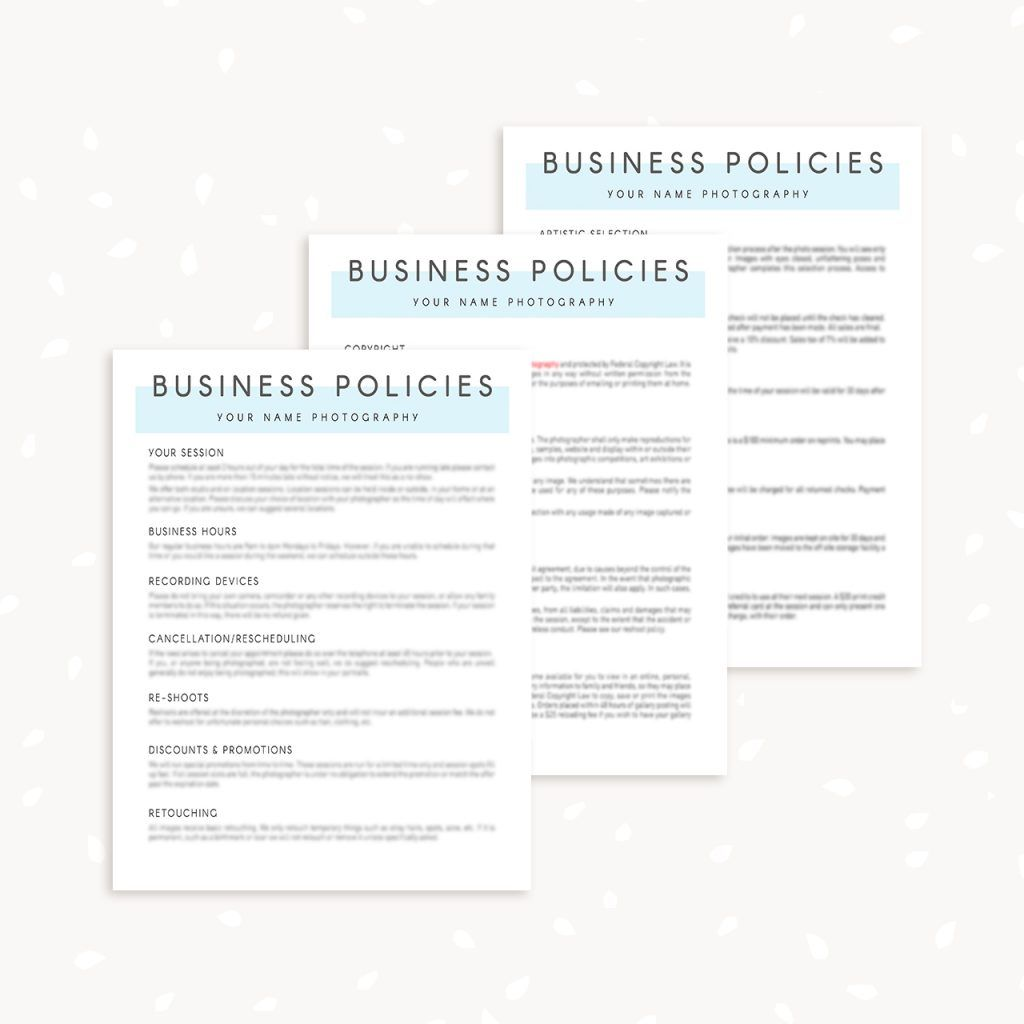 Business Policies Template For Photographers Templates Best