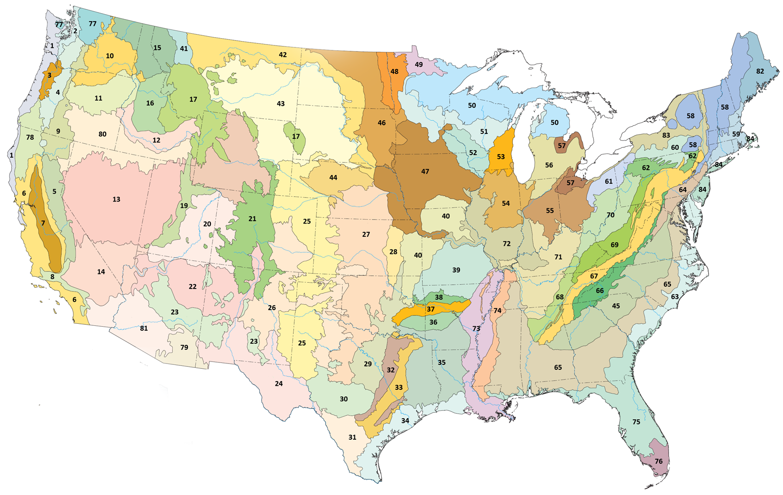 Map of ecoregions in the U.S. (With images) Map, Map