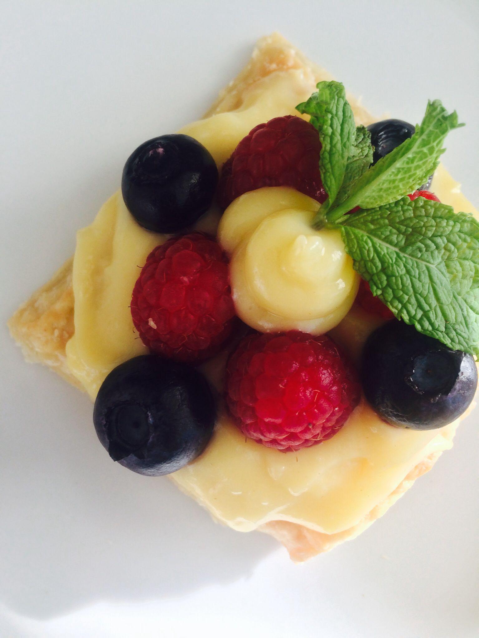 Raspberries, Blueberries, and Strawberries Puff Pastry with Vanilla Custard
