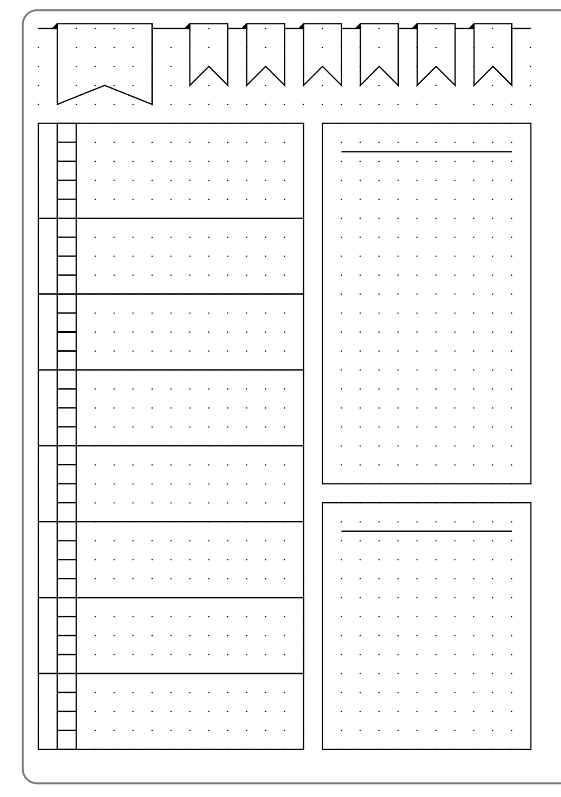 graphic relating to Printable Bullet Journal Paper referred to as Very simple Weekly Design and style Template - Kate Louise Bullet