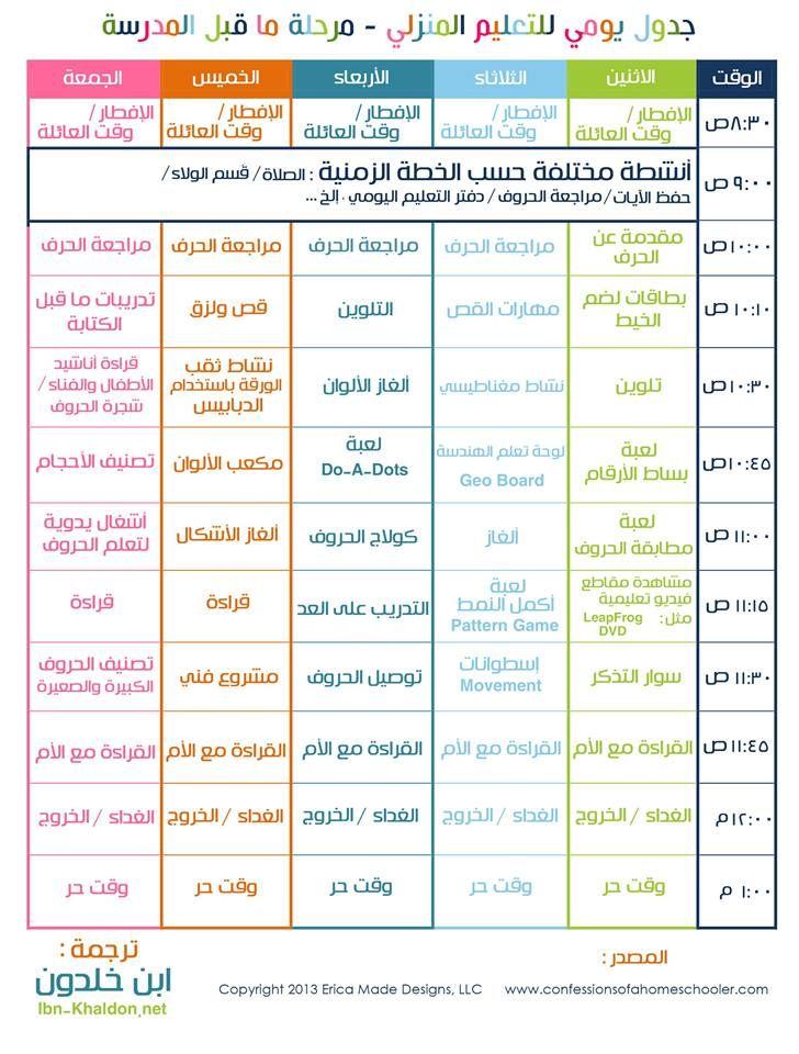 جدول لاطفال ما قبل المدرسة Kids Planner Kids Education Learning Websites