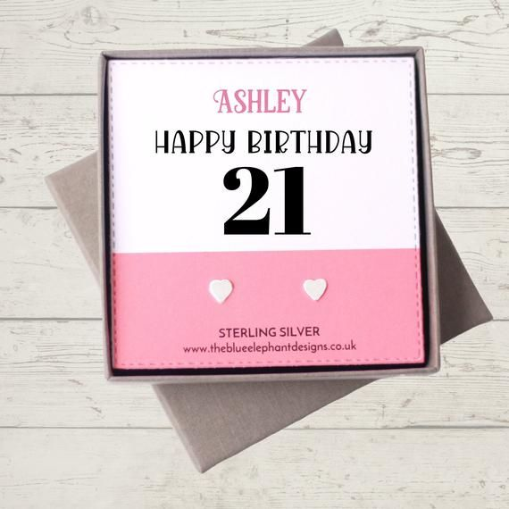 Personalized 21st Birthday Gift, Sterling Silver Stud Earrings, 21st Birthday Gift for Her #21stbirthdaysigns