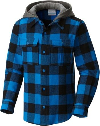 66db45f7a3f Columbia Boy's Boulder Ridge Flannel Hoodie Super Blue Buffalo Plaid XXS