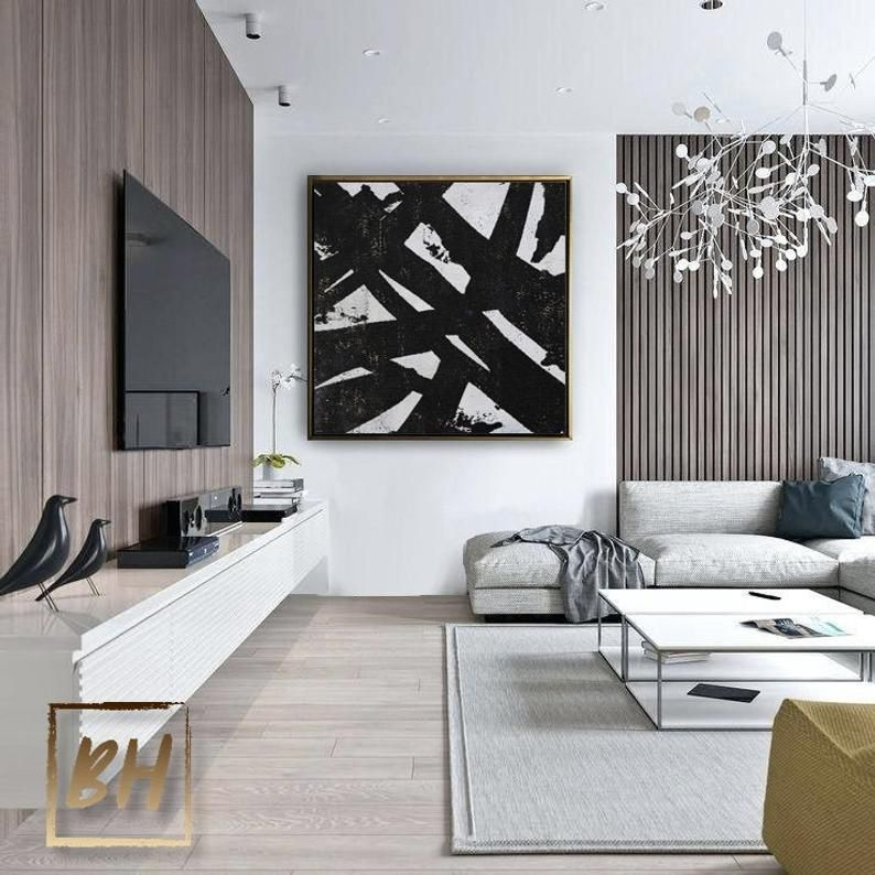 Black And White Painting Unique Abstract Oil Painting Hand Paint Large Art Oversized Painting Black White Painting Framed Wall Art Gift House Interior Living Room Scandinavian Living Room Modern Contemporary wall painting living room