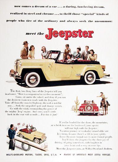 1948 Jeepster Convertible Original Vintage Advertisement A Dream