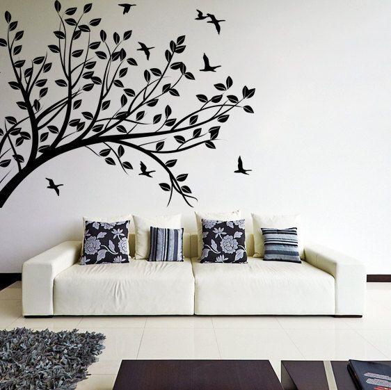 Branch Wall Tree Sticker Vinyl Decal Bird Kids Room Decals Etsy Tree Wall Decal Tree Wall Art Diy Mural