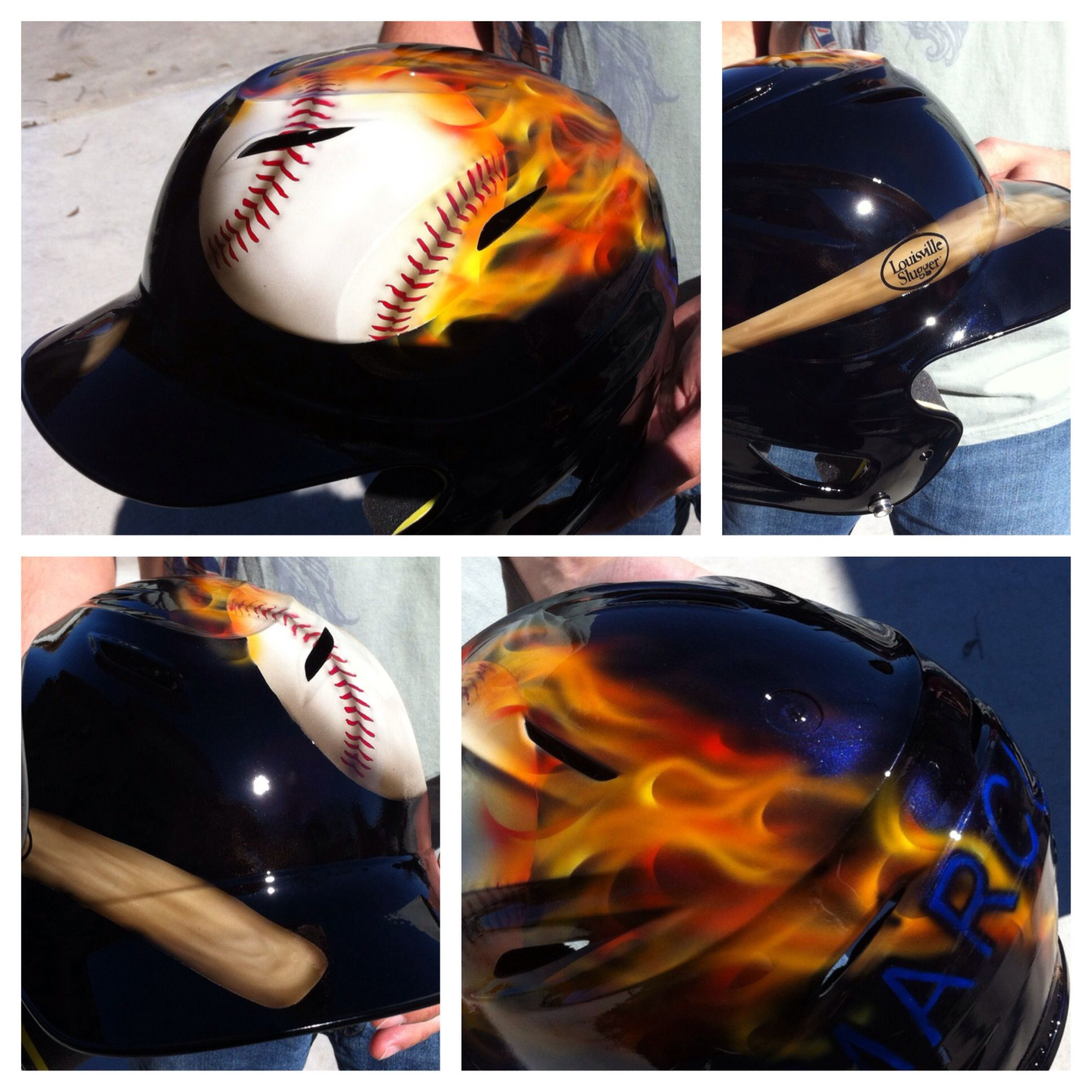 Custom airbrush baseball helmet by Kris Dean