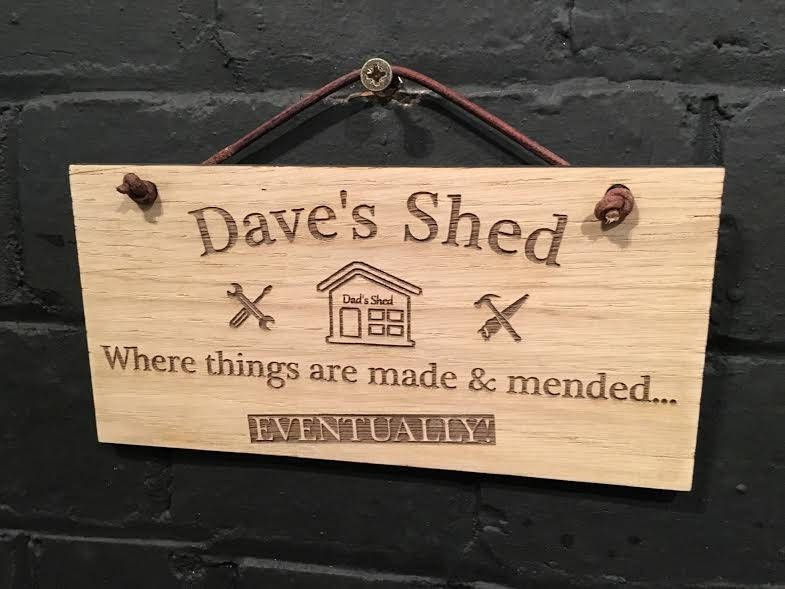 Dads Shed mended engraved gift idea Family novelty sign joke Humour love Father