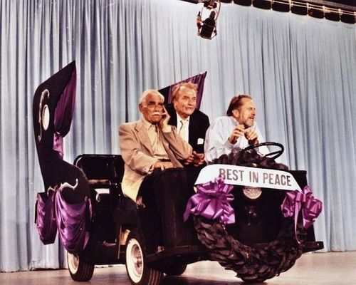 "Boris Karloff and Vincent Price in a tiny hearse on ""The Red Skelton Hour"""
