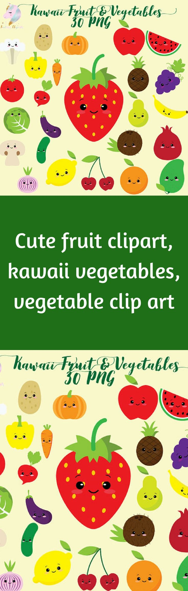 Cute Fruit Clipart Kawaii Vegetables Vegetable Clip Art Colorful
