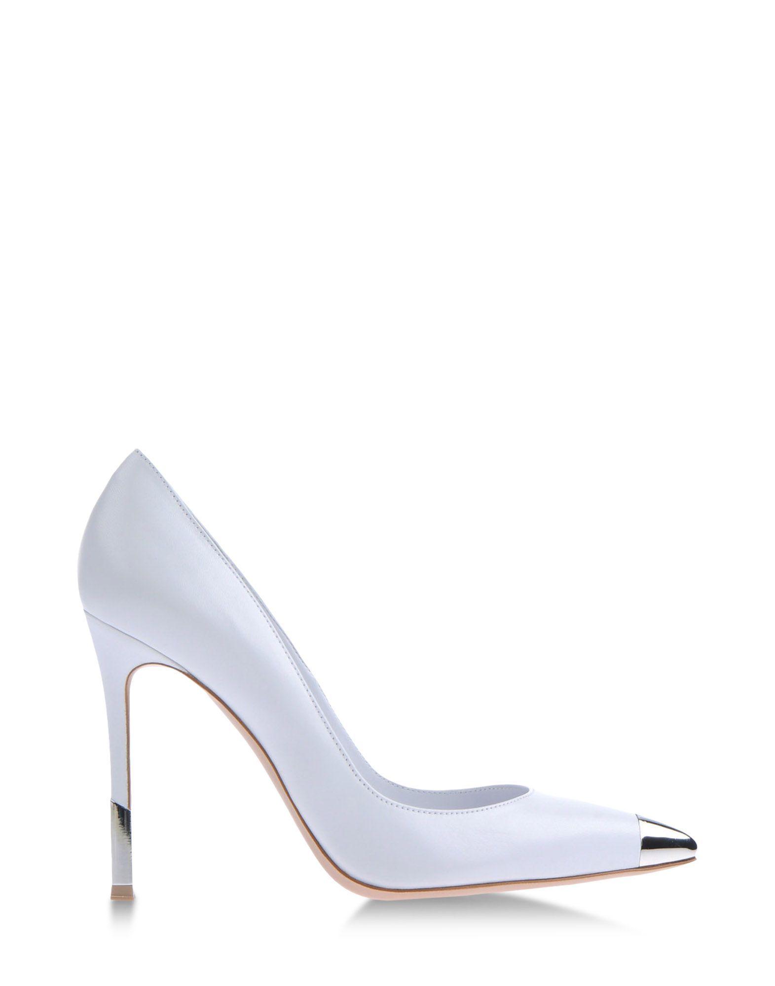 Metallic Shoes at  ShopBAZAAR - Gianvito Rossi White and Silver Cap-Toe  Pumps