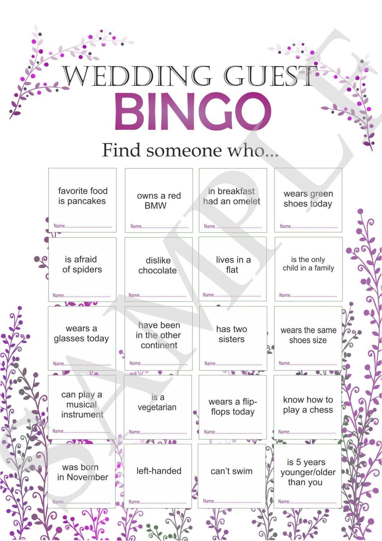 Wedding Reception Customized For Guests Printable Bingo Icebreaker