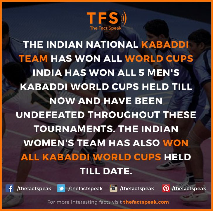 The Indian National Kabaddi Team Has Won All World Cups India Has Won All 5 Men S Kabaddi World Cups Held Till Now And Have Kabaddi World Cup Facts Undefeated