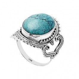 d96226e71d8056 Bague ethnique turquoise (argent) | Bijou | Bijoux ethniques argent ...