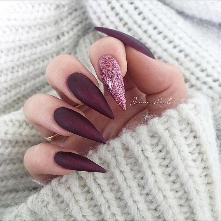 Beautiful Nail Art Design To Try This Season Long Coffin Nails Autumn Nails Nail Colors Fall Nails Nail Polis Burgundy Nails Luxury Nails Trendy Nails