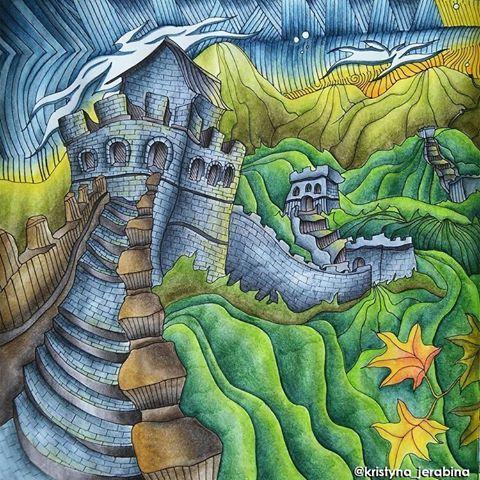 #lizziemarycullen #themagicalcity #magicalcity #adultcoloring #adultcoloringbook #coloringbook #coloring #omalovanky #arttherapie #antistresstherapy #art #relax #derwent #derwentinktense #inktensepencils #inktense #thegreatwallofchina #china #bayan_boyan #divasdasartes #arte_e_colorir #beautifulcoloring