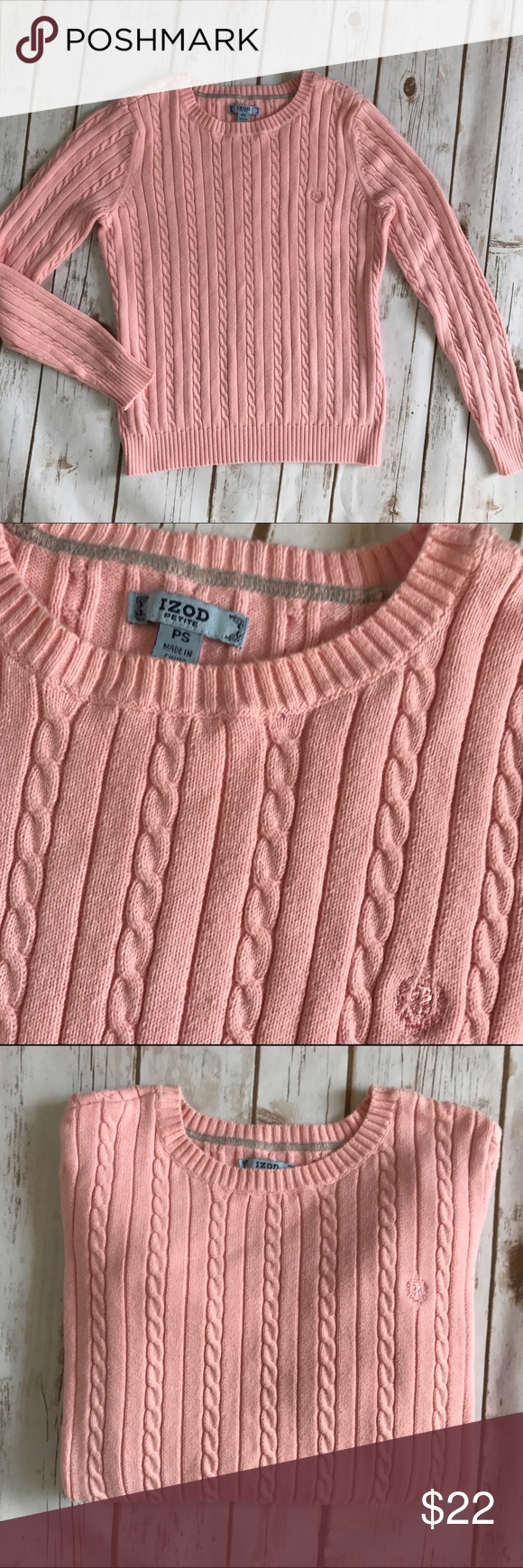Izod pink cable knit sweater 💜 | More Cable knit sweaters ideas