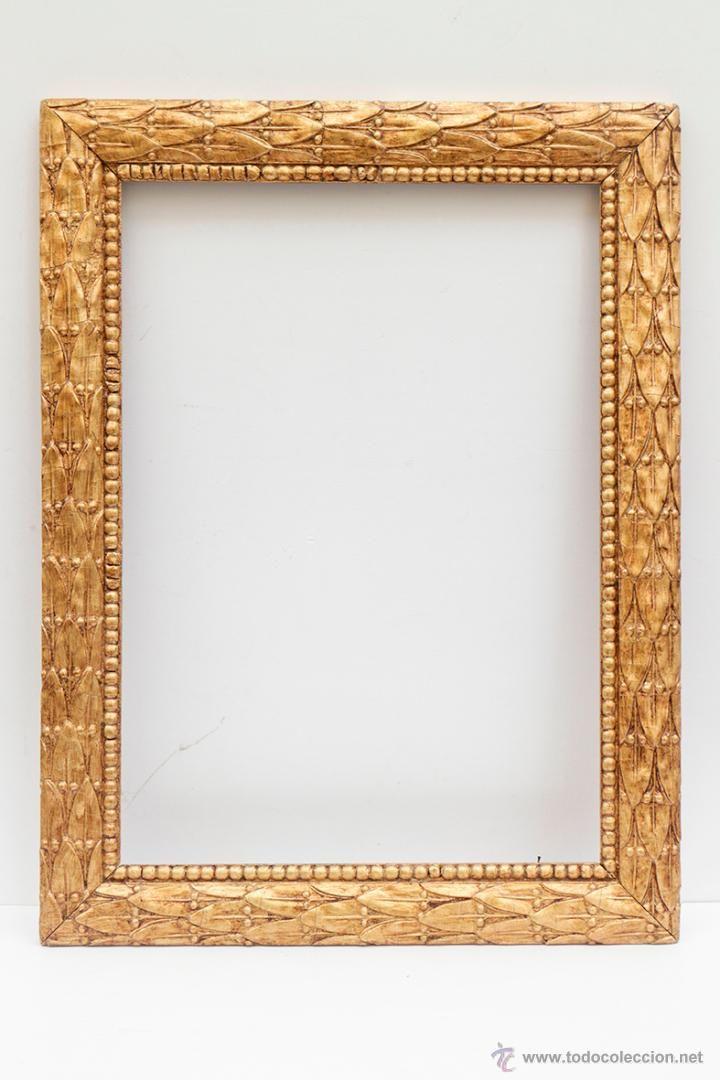 Antiguo marco de madera en pan de oro falso. 56 x 42,5 cm - http ...