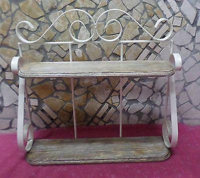 Mensola Portaspezie In Legno.Dettagli Su Mensola Rustica Vintage Shabby Chic In Ferro Battuto E