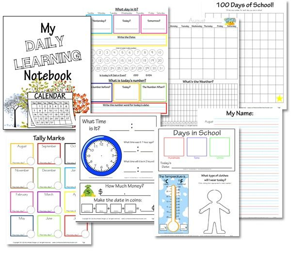 Daily Calendar Printable Elementary Daily Learning Notebookfree