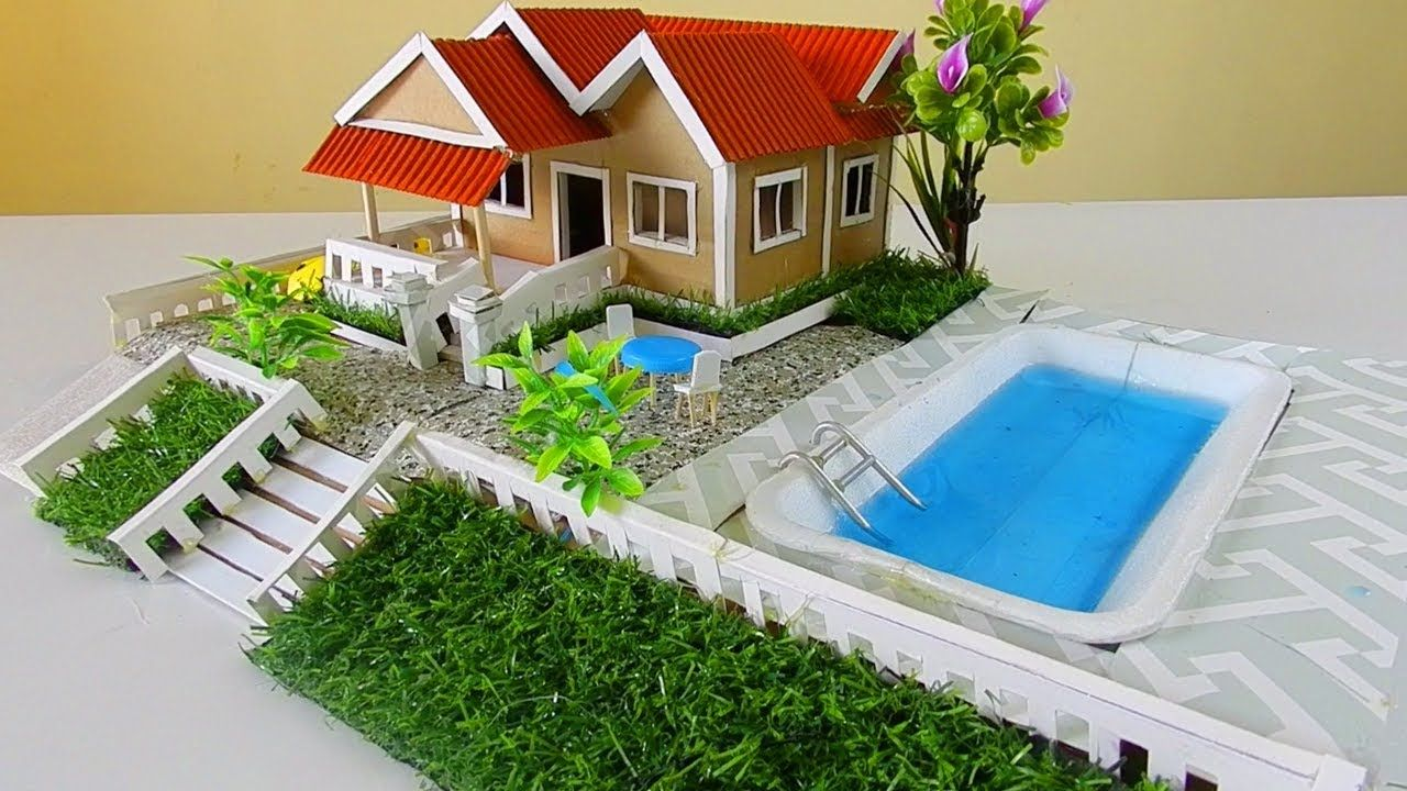 Diy Miniature Dollhouse With Swimming Pool And Garden Diy Swimming Pool Swimming Pools Dollhouse Miniatures