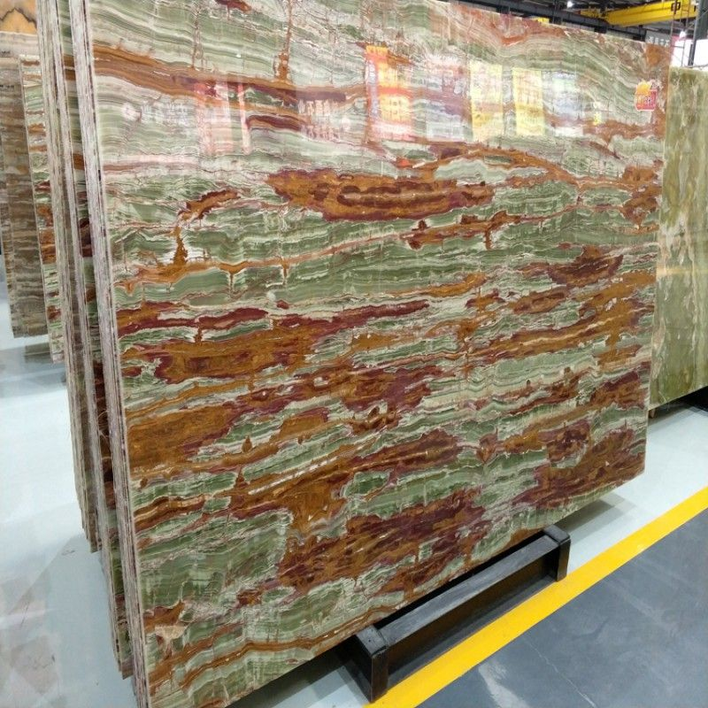 Green Onyx With Brown Veins Bamboo Joint Onyx Slab China Supplier