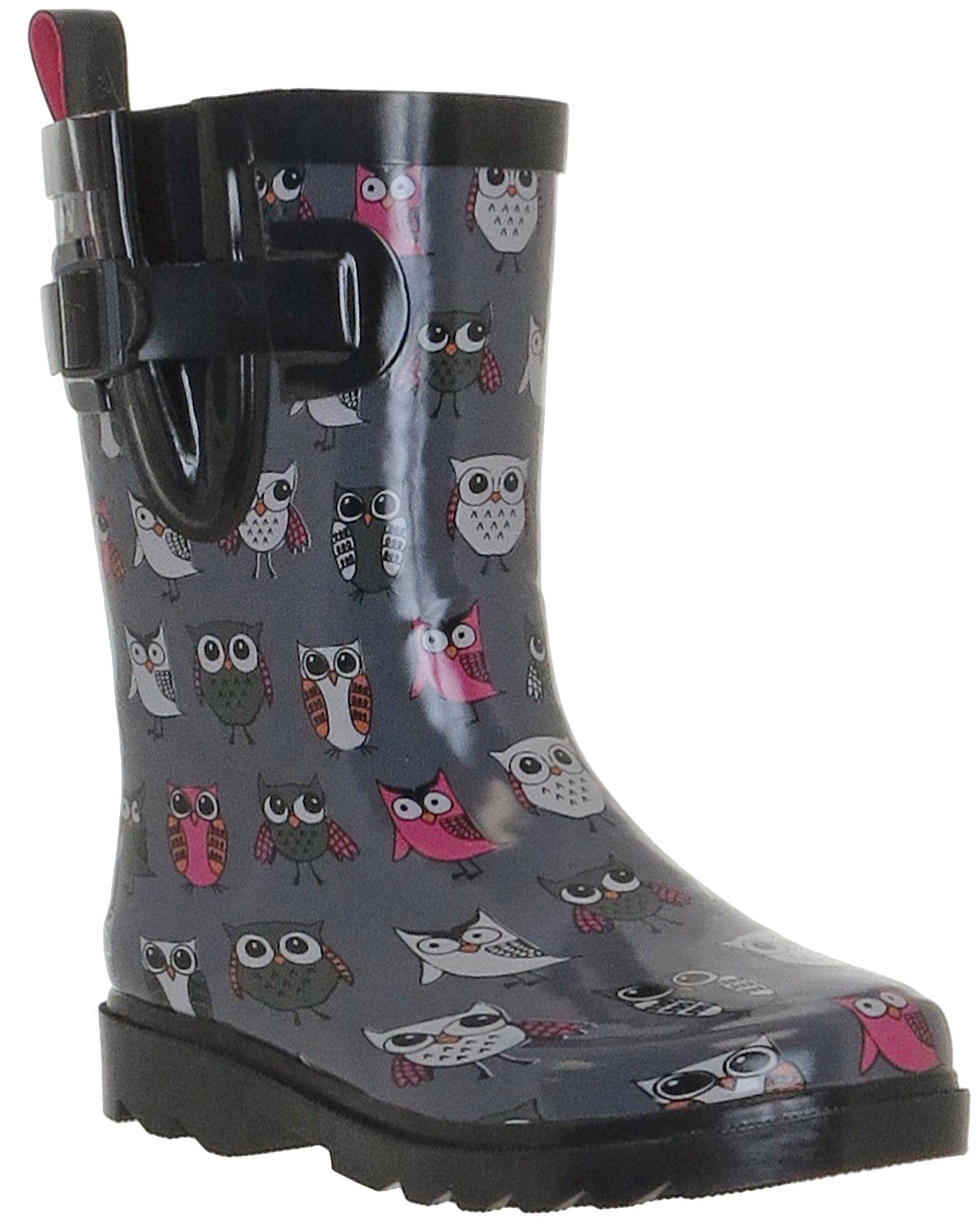 66656b80ec4 Capelli New York Sketchy Pop Owl Print Girls Rain Boots Grey Combo 12/13.  Sketchy Pop. Owl Print. Back Pull. Sporty Body. Girls Rain Boots.