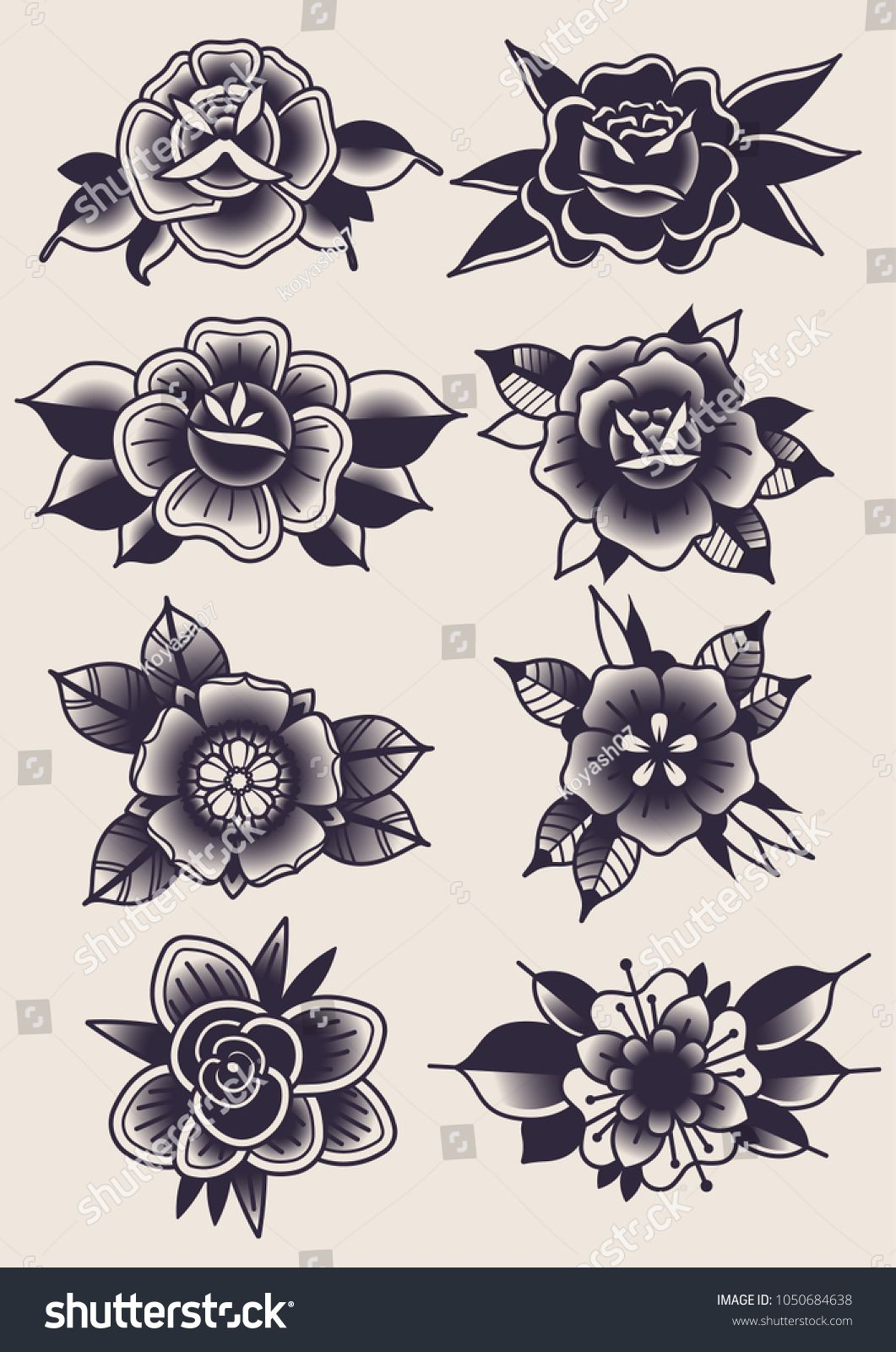 Vector Black Flowers Traditional Tattoo Designs Diseño