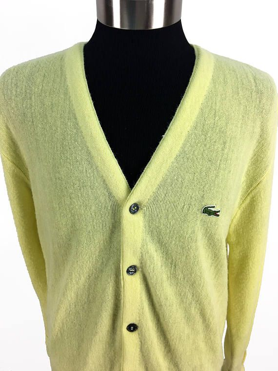 2681f7b76fa8e Vintage 70s Izod LACOSTE Acrylic Cardigan Sweater LARGE    Crocodile     1970s    Pale Yellow    Retr