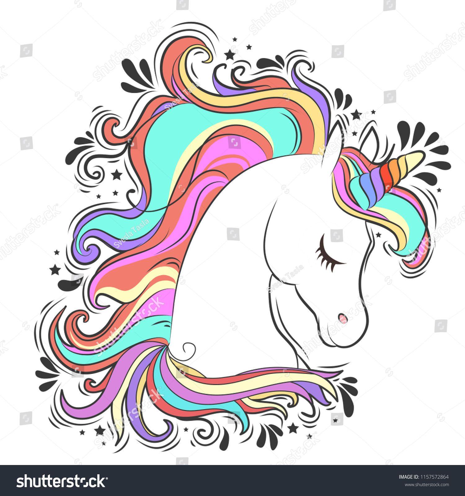 Cute White Unicorn With Rainbow Hair Vector Illustration For