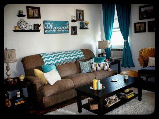Yellow gray aqua tan living room - rustic living | Living ...