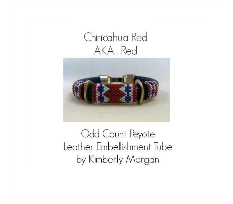 Chiricahua Red AKA Red  Odd Count Peyote Tube Pattern  Leather Embellishment  BoHo Country Western Wear by CactusRoseJewelry on Etsy