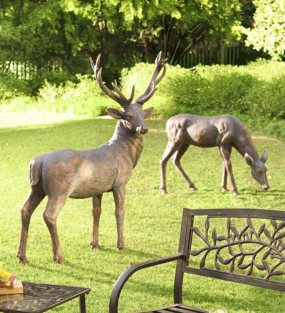 Fiberglass Buck And Doe Garden Statuary Set Deer Statues Garden Statues Statuary