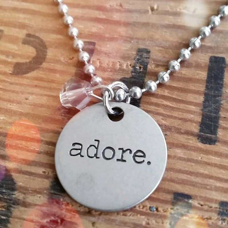 "Sweet ""Adore"" Necklace at lovethejunk.etsy.com."